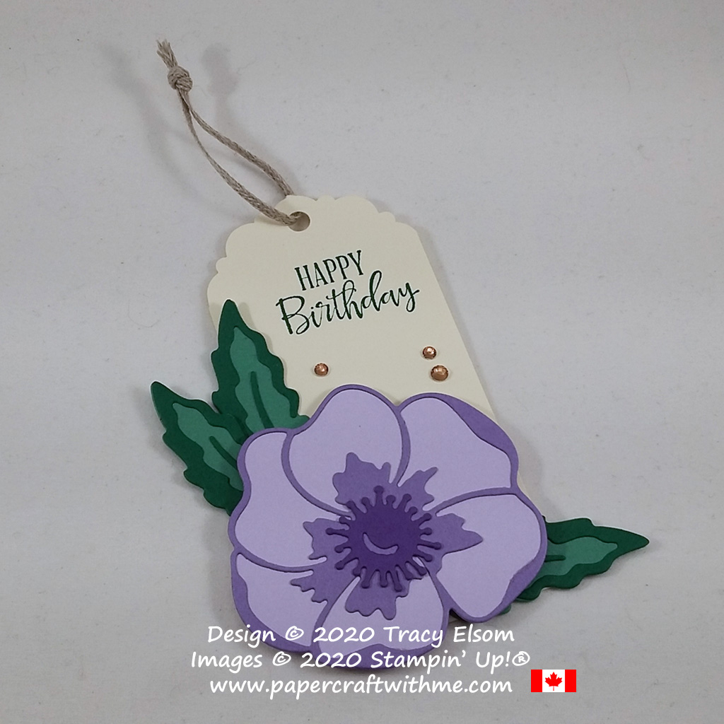 Large birthday gift tag with a purple flower created using the Peaceful Moments Stamp Set and Poppy Moments Dies Bundle from Stampin' Up! #papercraftwithme