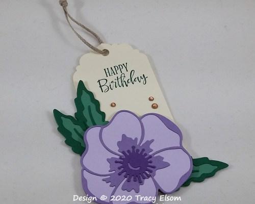 Purple Poppy Birthday Gift Tag