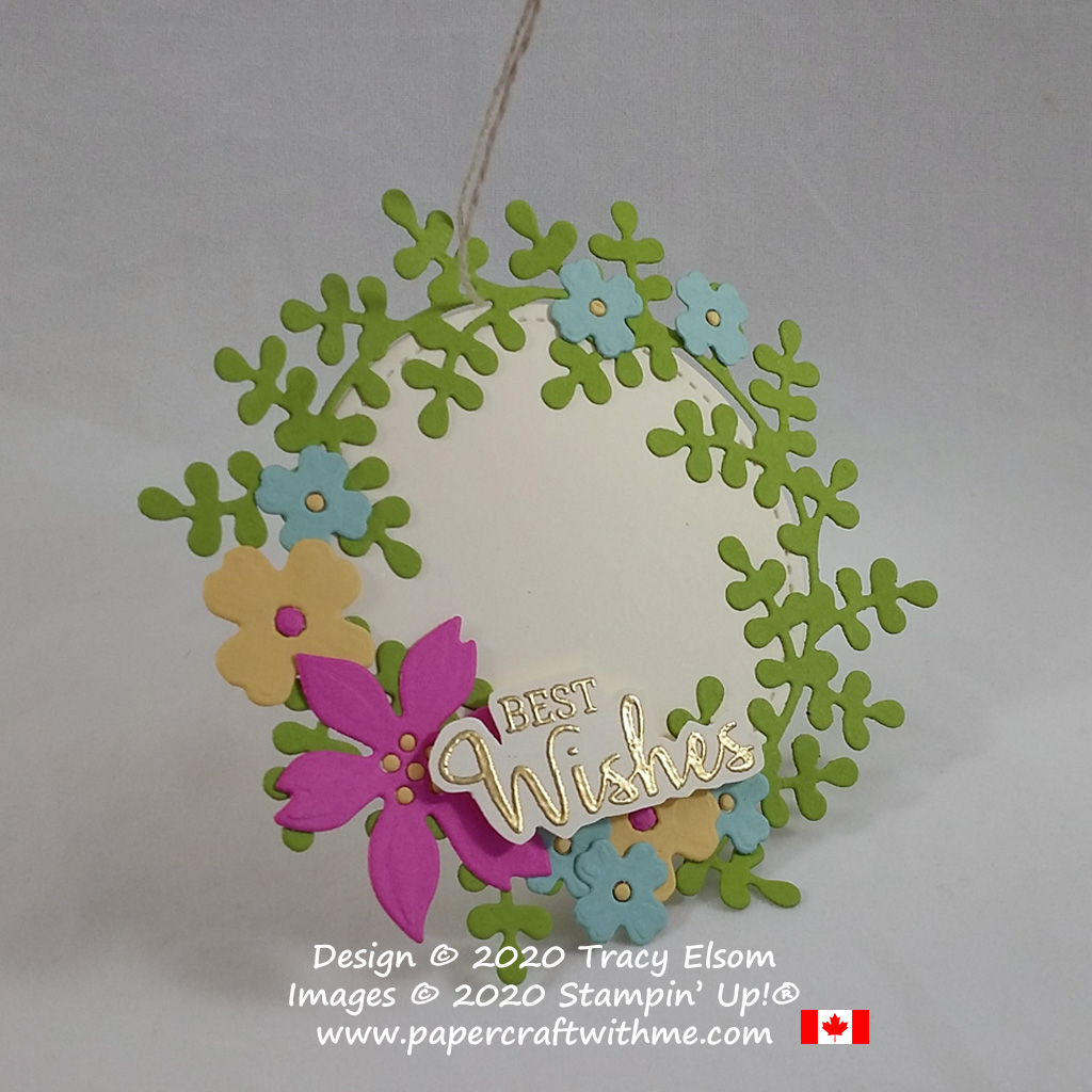 """Summer wreath tag with """"best wishes"""" sentiment created using the Arrange A Wreath Stamp Set and coordinating Wreath Builder Dies from Stampin' Up! #papercraftwithme"""