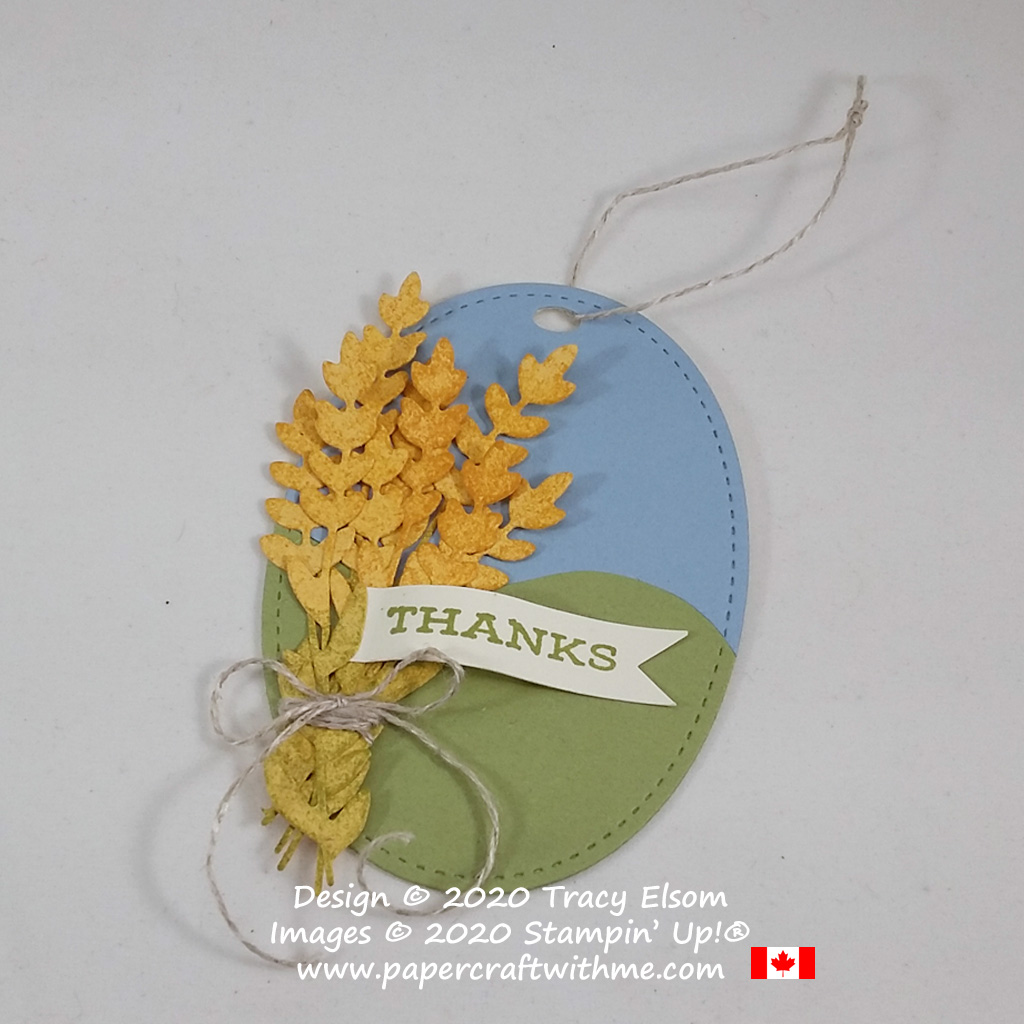 """Thanks"" gift tag with wheat sheaf created using the Celebrate Sunflowers Stamp Set and coordinating Sunflowers Dies from Stampin' Up! #papercraftwithme"