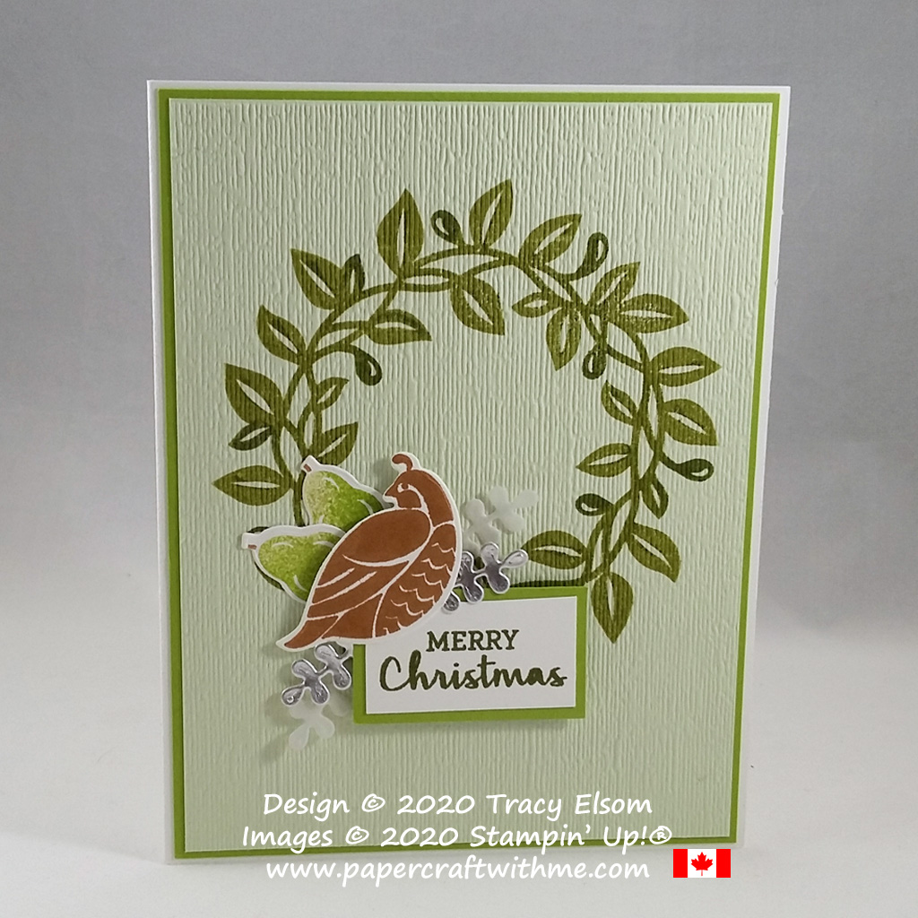 There's a wreath with a partridge and two pears on this Christmas card created using the Arrange a Wreath Stamp Set and coordinating Wreath Builder Dies from Stampin' Up! #papercraftwithme