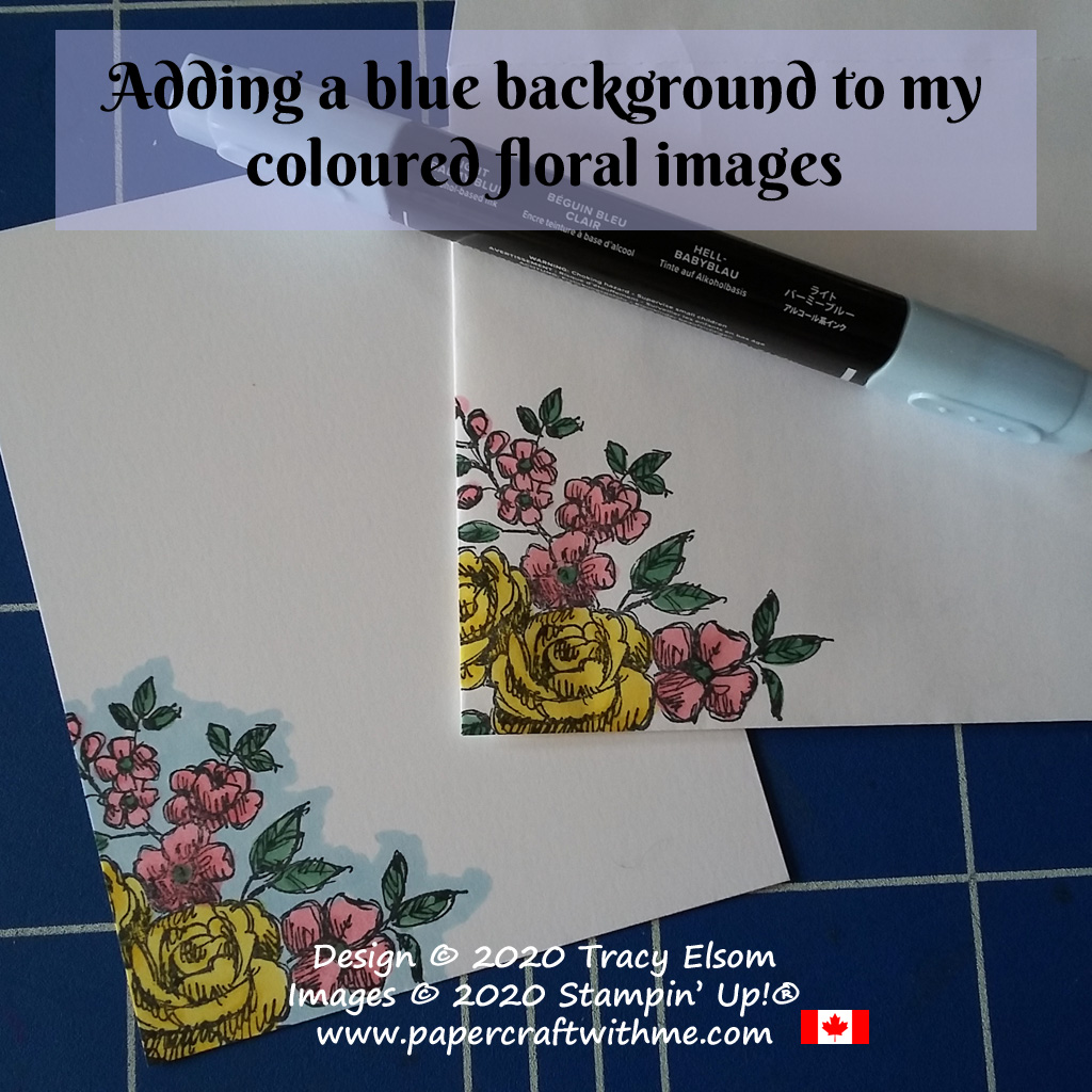 What a difference the Balmy Blue makes. Easy colouring with Stampin' Blends alcohol markers on an image from the Fancy Phases Stamp Set from Stampin' Up! #simplestamping #papercraftwithme