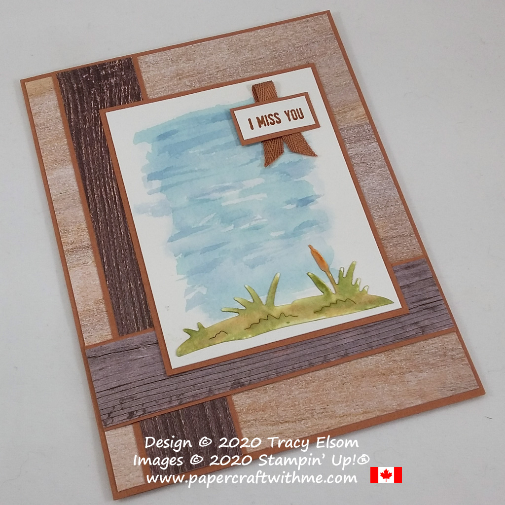 """Waterside """"miss you"""" card created using the Itty Bitty Greetings Stamp Set and Dockside Dies from Stampin' Up! #papercraftwithme"""