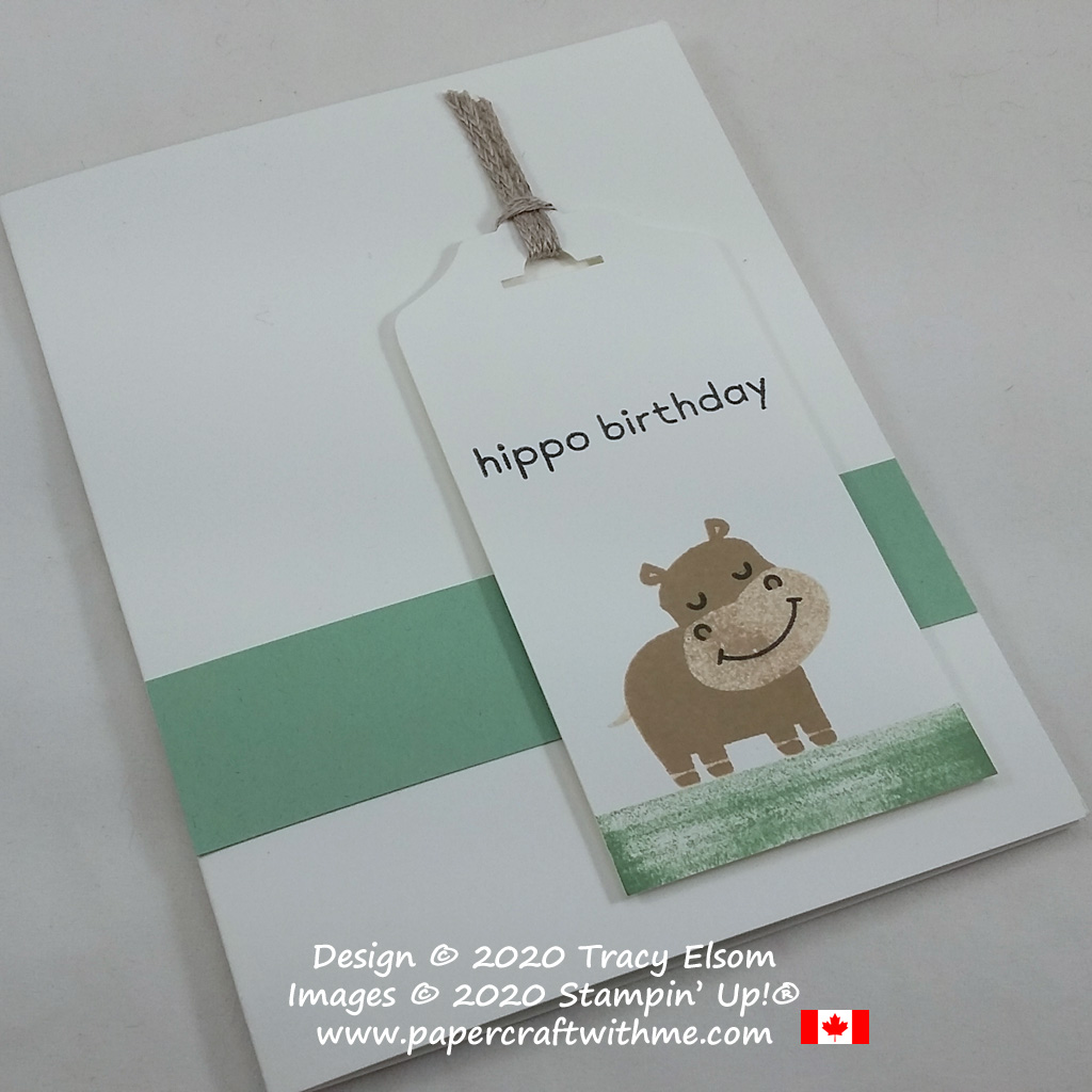 Simple birthday card created using the Hippo Happiness Stamp Set from Stampin' Up! #papercraftwithme