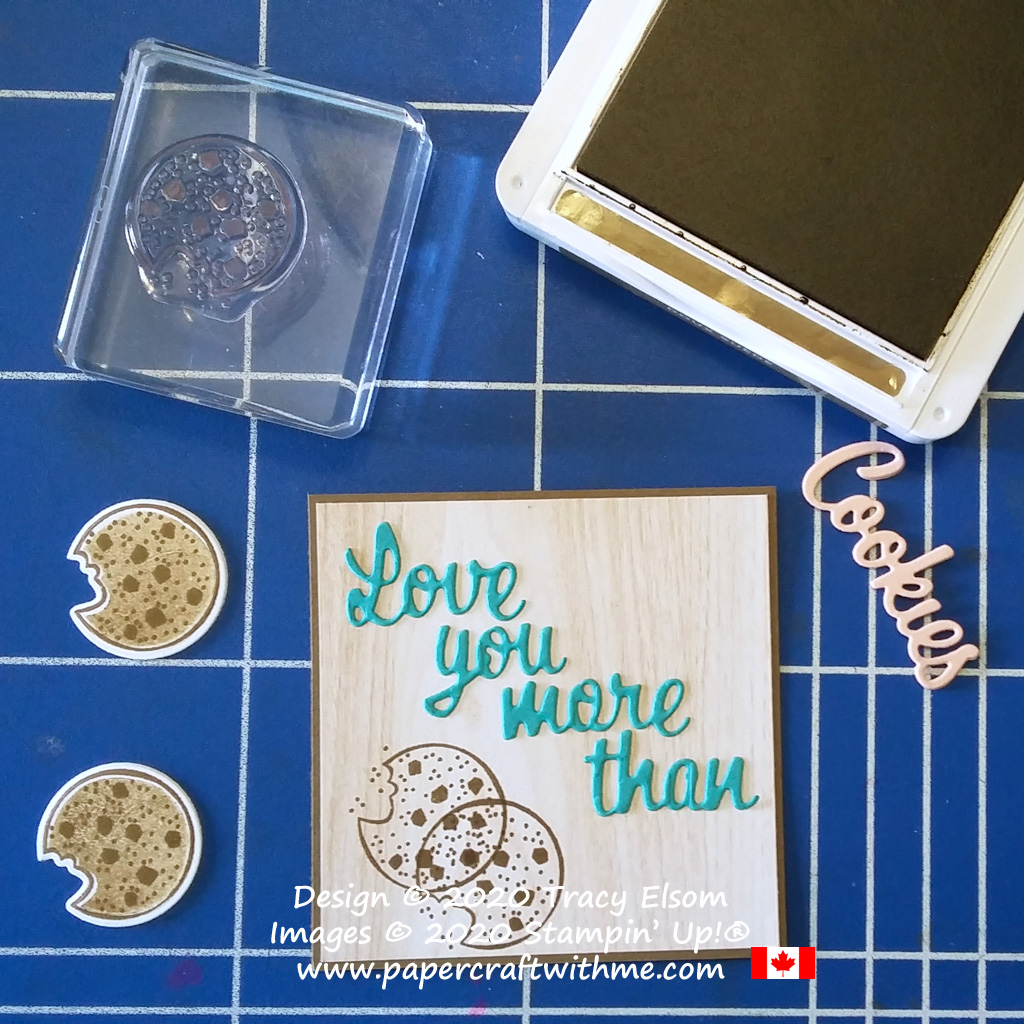 "Mini Pizza Box with ""love you more than"" sentiment and cookie images created using the Nothing's Better Than Stamp Set and coordinating Love You More Than Dies from Stampin' Up! #papercraftwithme"