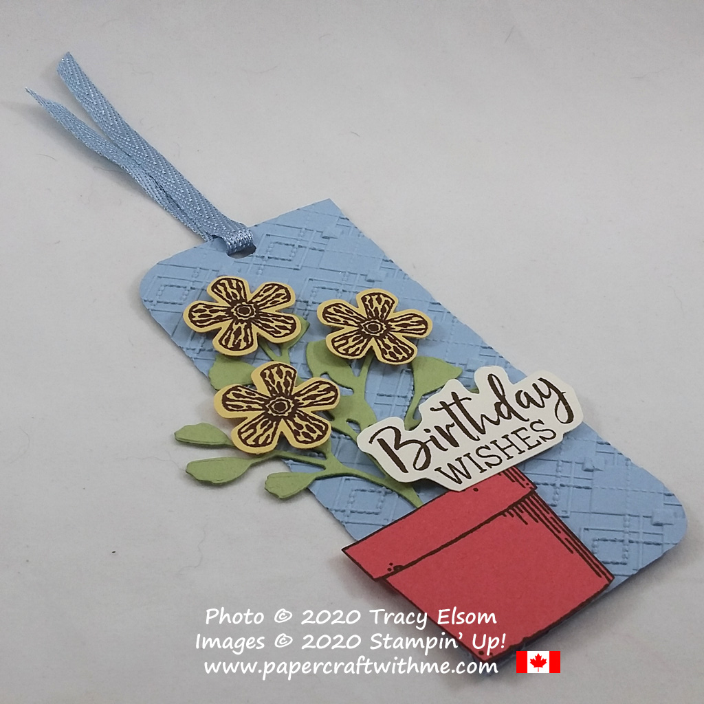 House plant birthday gift tag created using the Basket of Blooms and Fancy Phrases Stamp Sets with Forever Flourishing Dies all from Stampin' Up! #papercraftwithme
