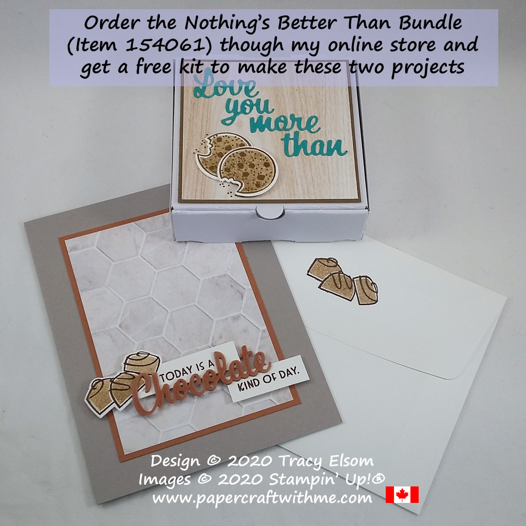 Order the Nothing's Better Than Stamp Set and coordinating Love You More Than Dies bundle (item 154061) through my online store and I'll send you a free kit to make a card and treat box. #papercraftwithme