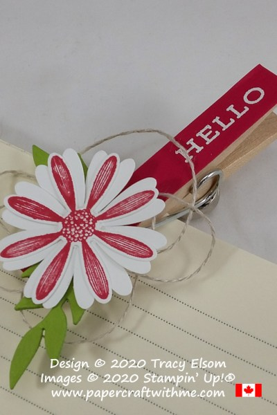 """Hello"" clothes pin paper clip created using the Forever Fern and Daisy Lane Stamp Sets with the Medium Daisy Punch and Flourishing Fern Dies, all from Stampin' Up! #papercraftwithme"