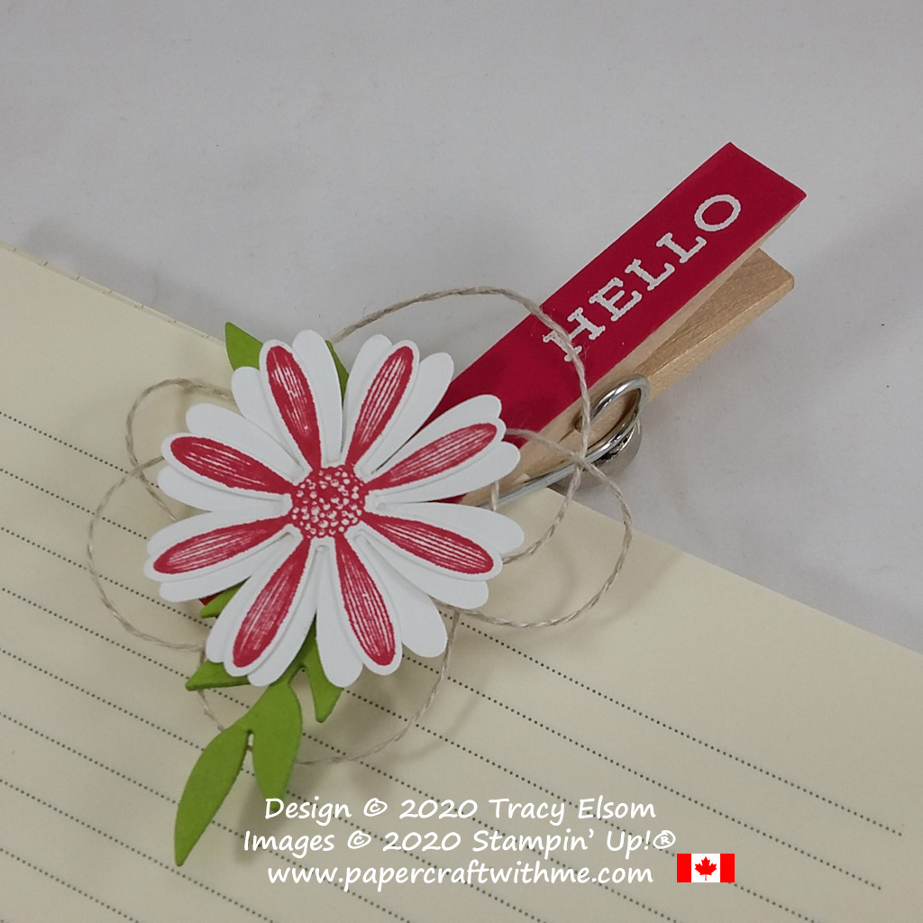 """""""Hello"""" clothes pin paper clip created using the Forever Fern and Daisy Lane Stamp Sets with the Medium Daisy Punch and Flourishing Fern Dies, all from Stampin' Up! #papercraftwithme"""