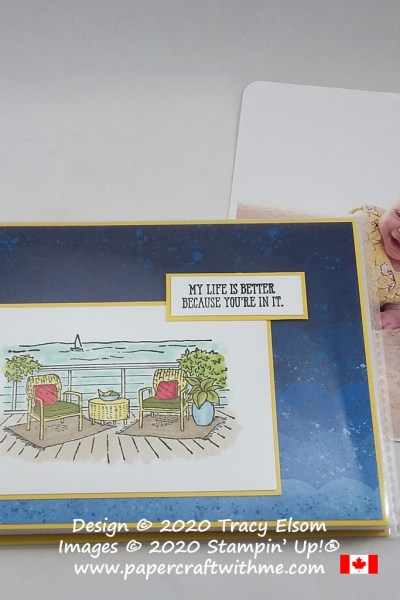 "Mini 4"" x 6"" pocket photo album decorated with deck scene and ""My life is better because you're in it"" sentiment, created using the Seaside View and Well Said Stamp Sets from Stampin' Up! #papercraftwithme"