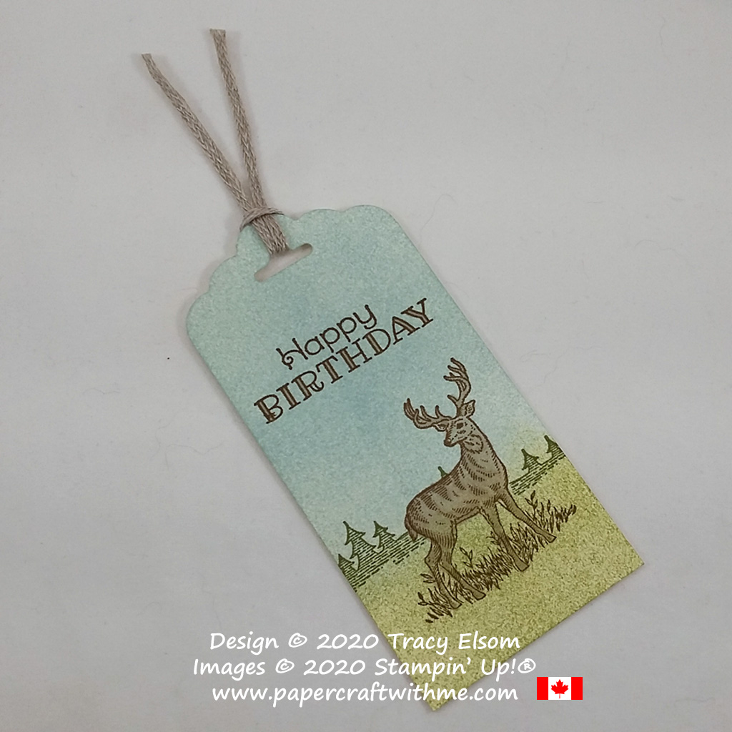 Happy birthday gift tag with stag image created using the Rustic Retreat Stamp set from Stampin' Up! #papercraftwithme