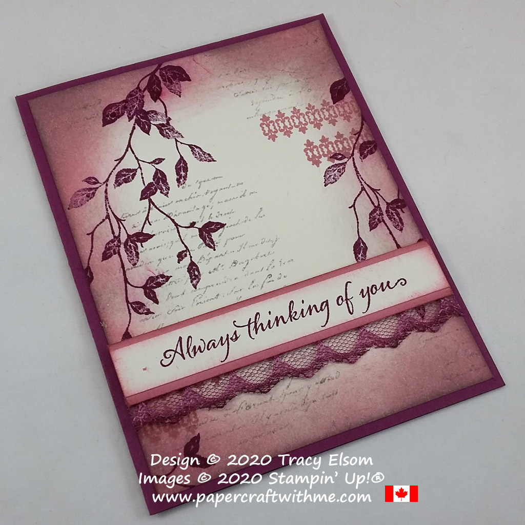 """Vintage-style """"Always thinking of you"""" card created using Rich Razzleberry, Rococo Rose and Smoky Slate ink pads and the Very Versailles Stamp Set from Stampin' Up! #papercraftwithme"""