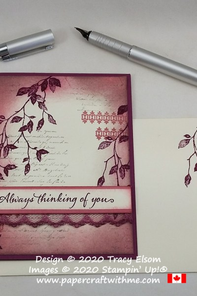 "Vintage-style ""Always thinking of you"" card created using Rich Razzleberry, Rococo Rose and Smoky Slate ink pads and the Very Versailles Stamp Set from Stampin' Up! #papercraftwithme"