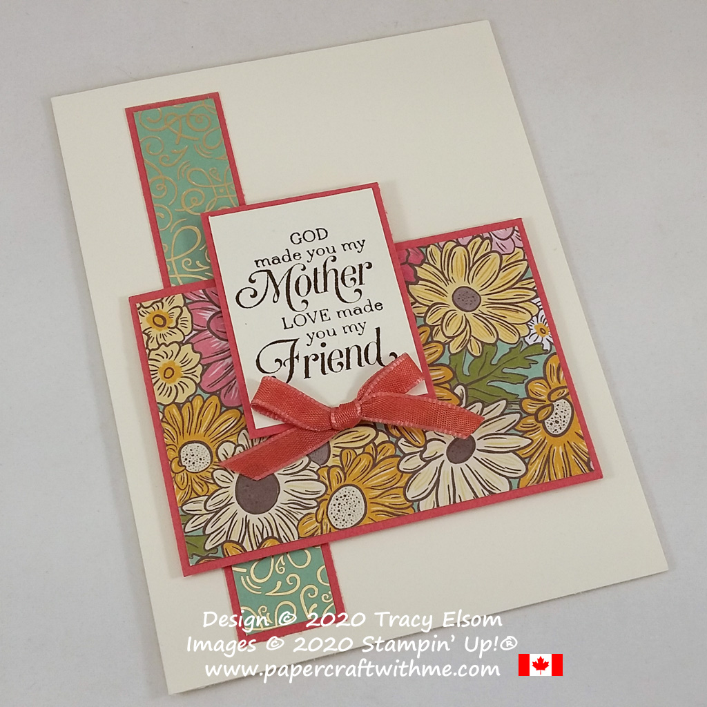 Simple three layer mother-friend card created using the Strong & Beautiful Stamp Set and Ornate Garden paper from Stampin' Up! #papercraftwithme