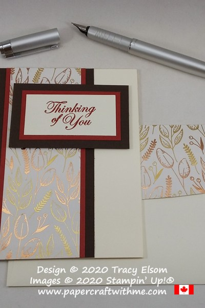"Simple ""thinking of you"" card created using the Good Morning Magnolia Stamp Set and Gilded Autumn specialty paper from Stampin' Up! #papercraftwithme"