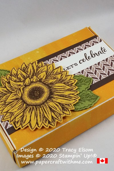 Mini Paper Pumpkin Box decorated using the Celebrate Sunflowers Stamp Set and coordinating Sunflowers Dies from Stampin' Up! #papercraftwithme