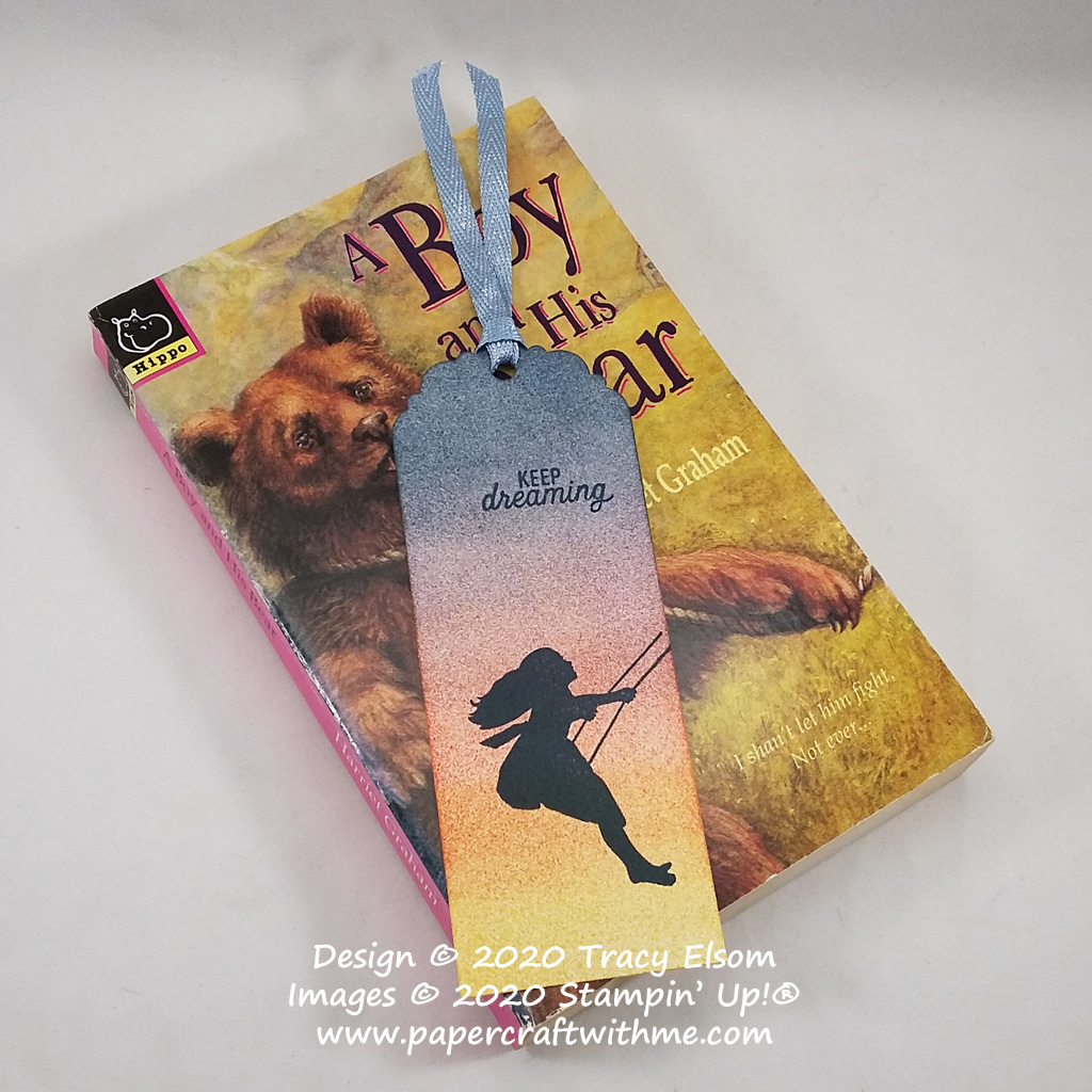 """Keep dreaming"" bookmark with a girl on a swing image created using Sponge Brayers and the Silhouette Scenes Stamp Set from Stampin' Up! #papercraftwithme"