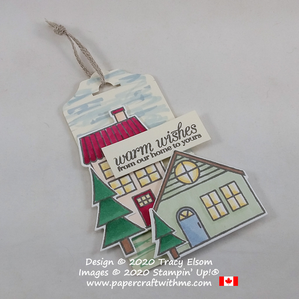 """""""Warm wishes from our home to yours"""" gift tag, created using the Poinsettia Petals and Coming Home Stamp Sets and Home Together Dies from Stampin' Up! #papercraftwithme"""