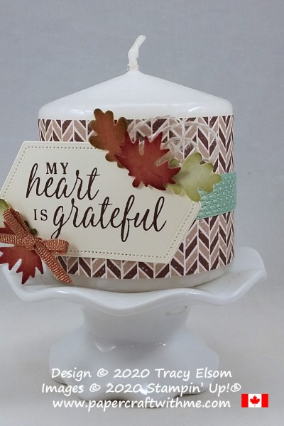 Use ink to add depth to punched pieces or stamp only part of a sentiment like on this candle collar created with products from the Gilded Autumn Suite by Stampin' Up! #papercraftwithme