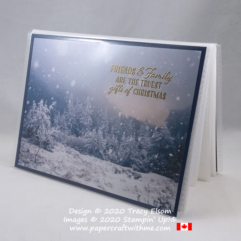 Combine Feels Like Frost DSP and the perfect sentiment from the Wrapped In Christmas Stamp Set from Stampin' Up! to create a pocket album cover ready for friends and family photos. #papercraftwithme
