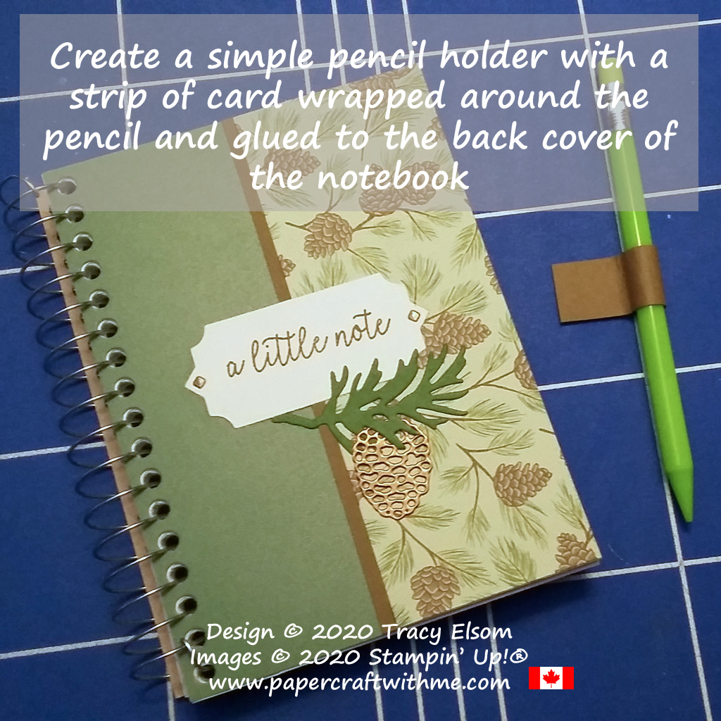 """I decorated this plain 3-1/2"""" x 5"""" spiral notebook with pine cone images using the Beautiful Boughs Dies and Poinsettia Place DSP paper from Stampin' Up! #papercraftwitme"""