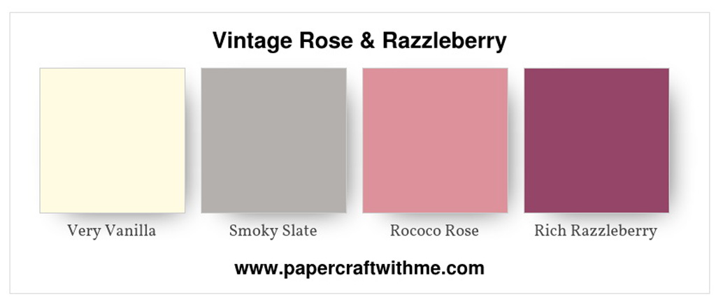 Vintage-style colour scheme of Very Vanilla, Smoky Slate, Rococo Rose and Rich Razzleberry from Stampin' Up! #papercraftwithme