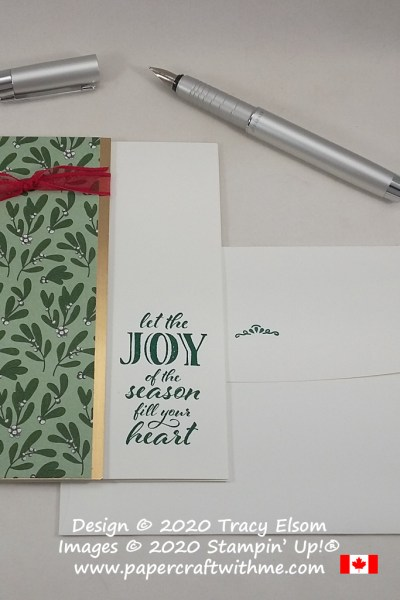 """Let the joy of the season fill your heart"" card created using the Wrapped In Christmas Stamp Set from Stampin' Up! #papercraftwithme"
