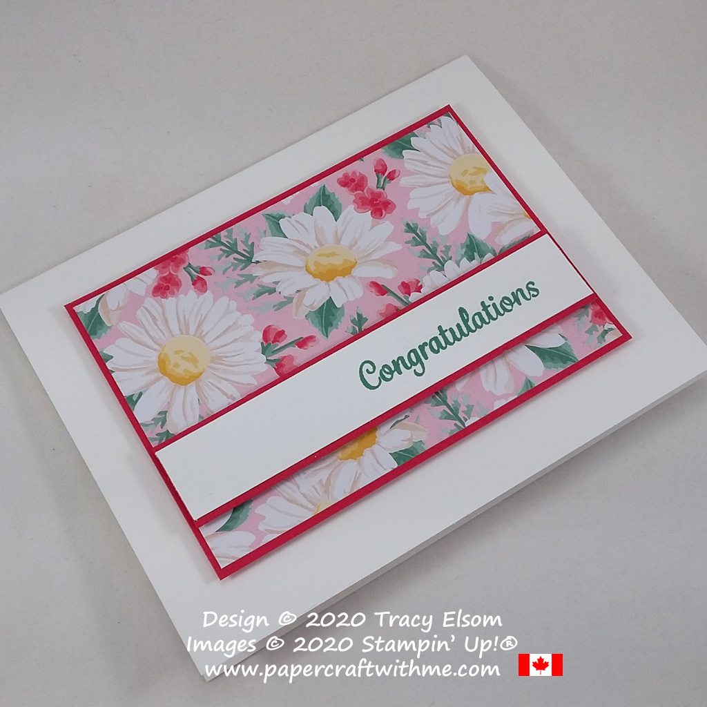 Simple congratulations card created using the Here's A Card Stamp Set and Flowers For Every Season paper from Stampin' Up! #papercraftwithme #simplestamping
