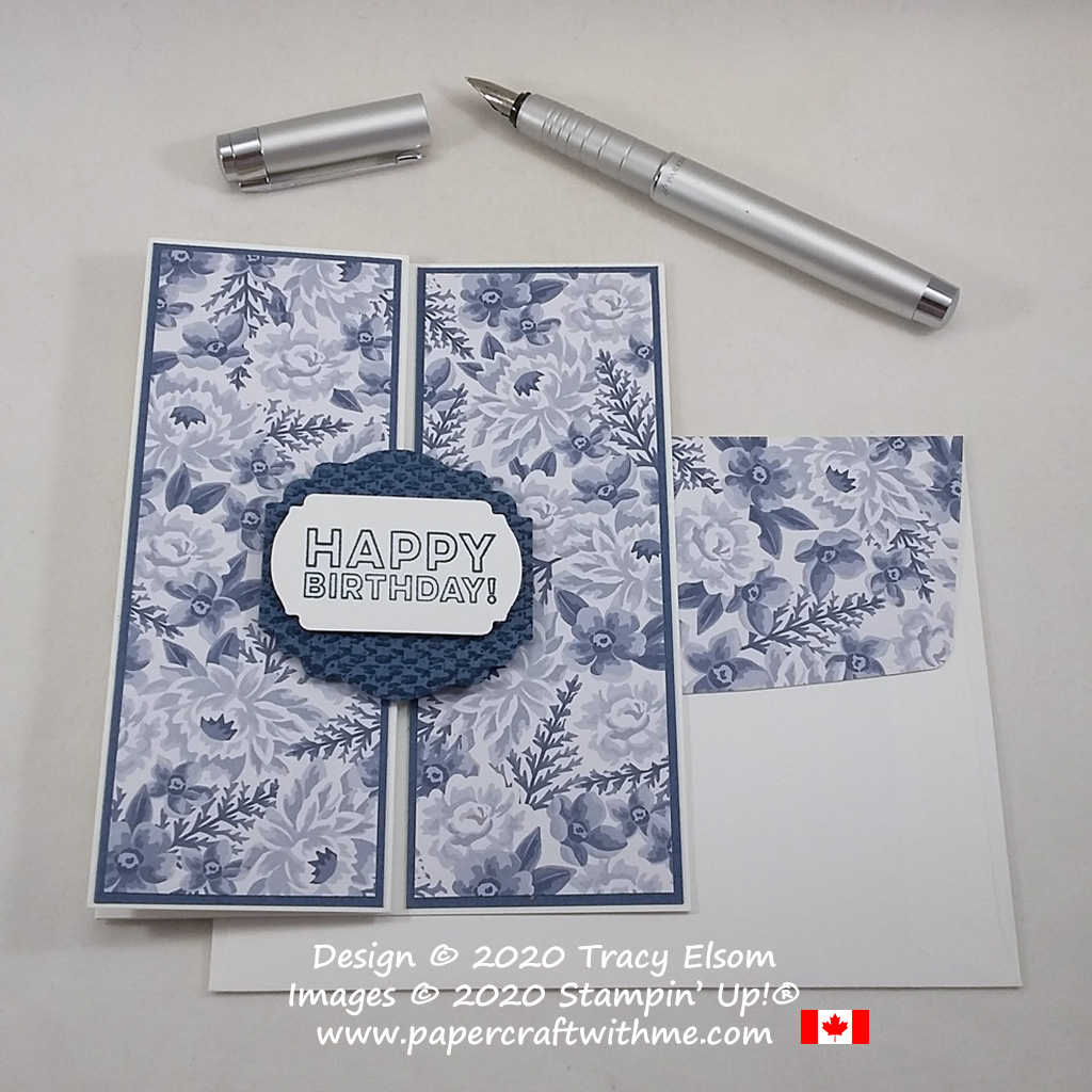 Z-fold floral birthday card in classic blue and white. Created using the Many Mates Stamp Set and Flowers For Every Season paper from Stampin' Up! #papercraftwithme