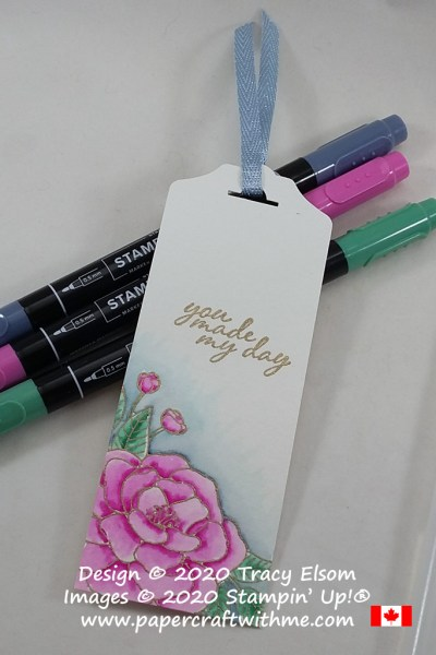 """You made my day"" camellia bookmark created using the So Much Love Stamp Set from Stampin' Up! and simply coloured with Stampin' Write Markers and a Water Painter #papercraftwithme"