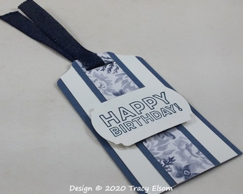 Blue Floral Birthday Gift Tag