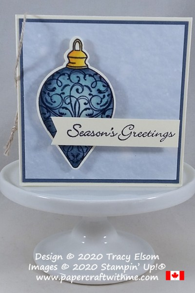 """Seasons Greetings"" gift tag with ornament image created using the Christmas Gleaming and Itty Bitty Christmas Stamp Sets with one of the Gleaming Ornaments punches, all from Stampin' Up! #papercraftwithme"
