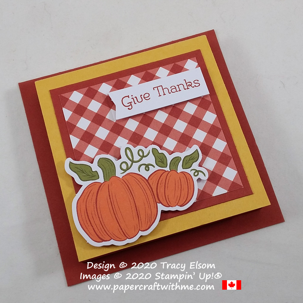 """Give thanks"" covered Post-It Note pad, alternate project using parts from the September 2020 Paper Pumpkin kit - Hello Pumpkin. #papercraftwithme"