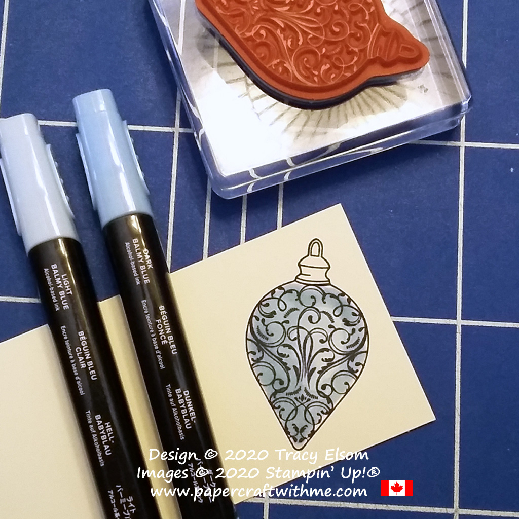 Step 2 colouring the ornament image from the Christmas Gleaming Stamp Set from Stampin' Up! #papercraftwithme