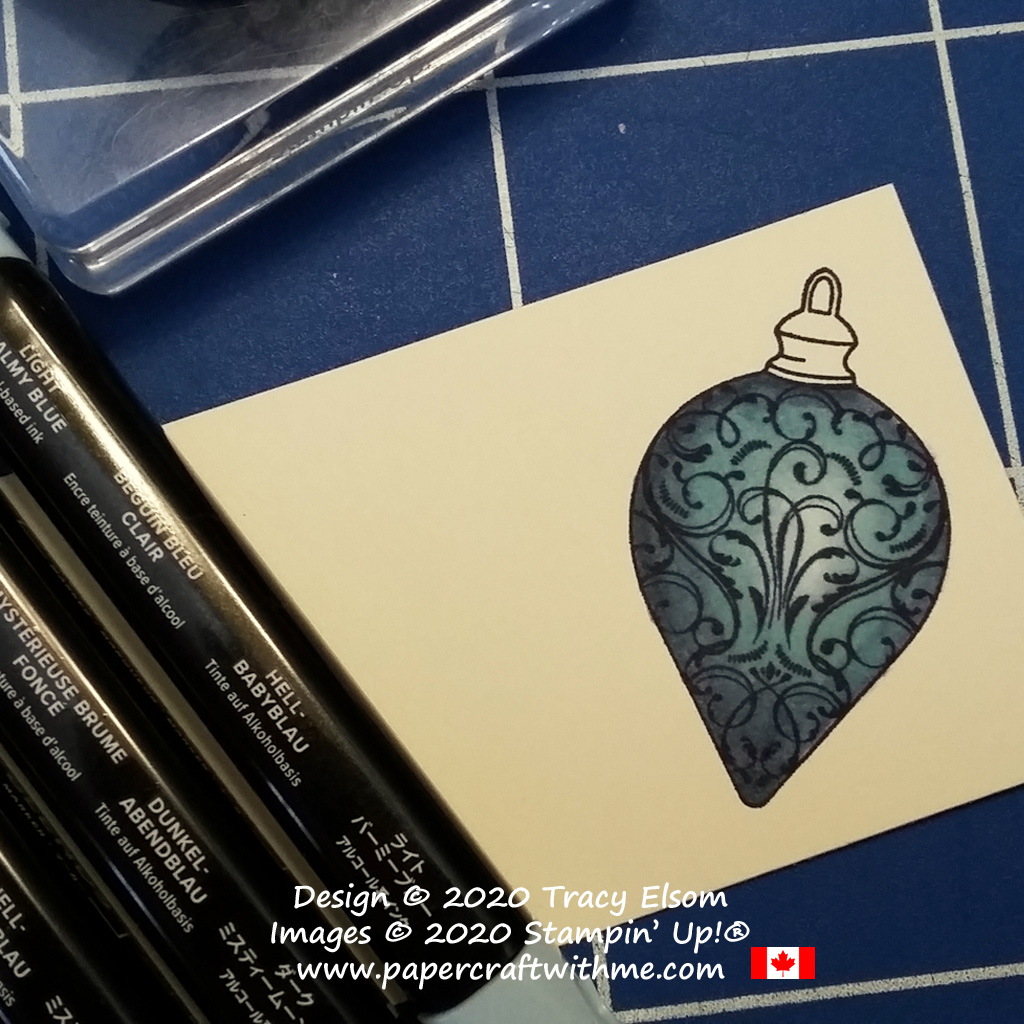 Step 5 colouring the ornament image from the Christmas Gleaming Stamp Set from Stampin' Up! #papercraftwithme