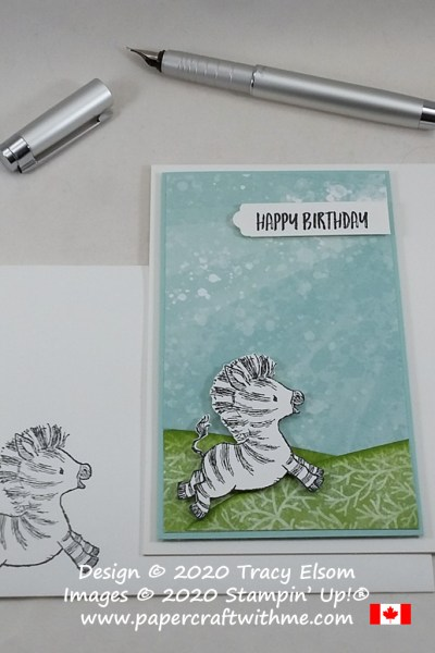 Birthday card created using the Zany Zebra Stamp Set and Whale Of A Time paper from Stampin' Up! #papercraftwithme