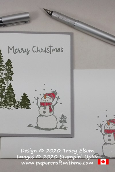 Woodland snowman Christmas card created using the Snowman Season and Campology Stamp Sets from Stampin' Up! #papercraftwithme #simplestamping
