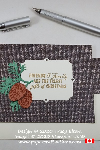 Friends & family Christmas card created using the Wrapped in Christmas Stamp Set Tasteful Textile Embossing Folder and Beautiful Boughs Dies from Stampin' Up! #papercraftwithme