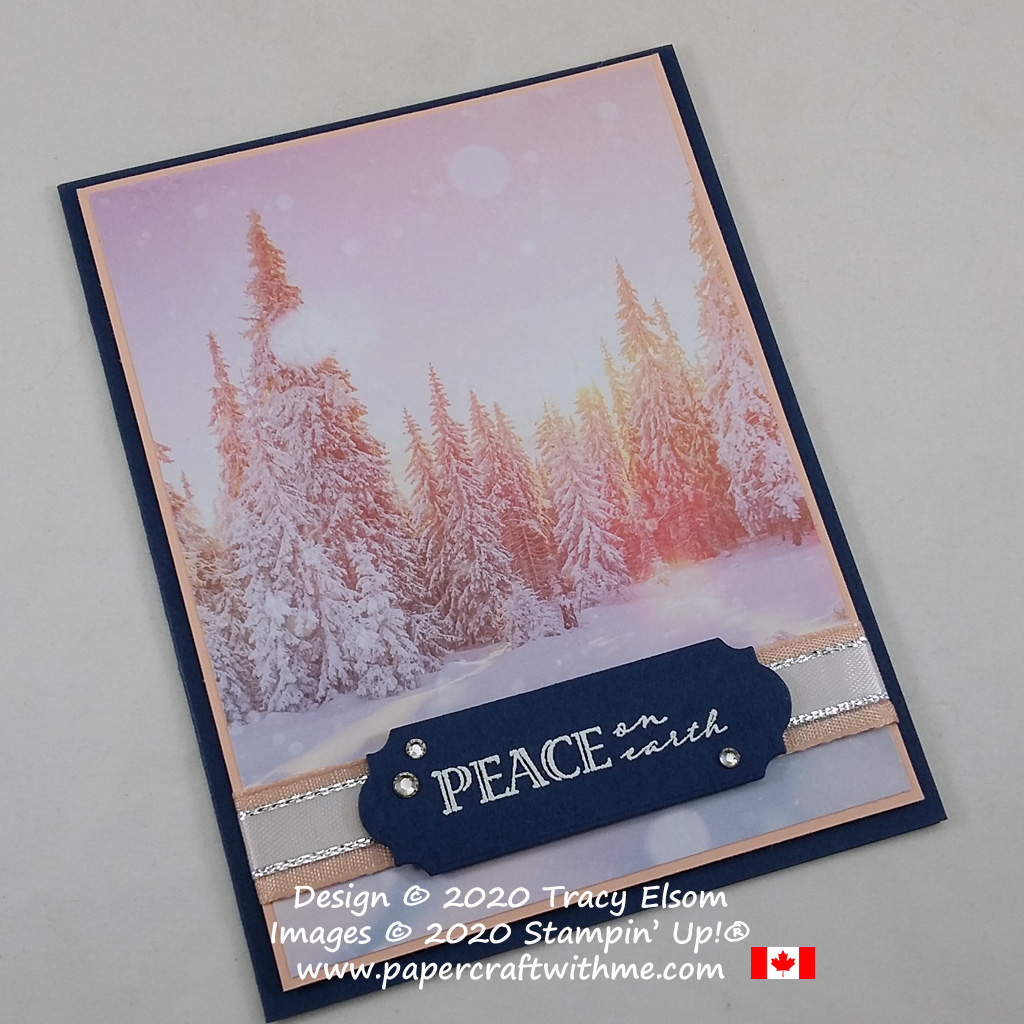 """Peace on earth"" card created using the Wrapped In Christmas Stamp Set and Feels Like Frost paper from Stampin' Up! #papercraftwithme"
