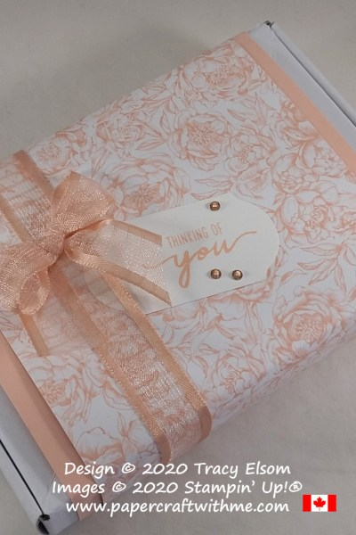 Pretty present box created using the Beautiful Moments Stamp Set and Peony Garden paper from Stampin' Up! #papercraftwithme