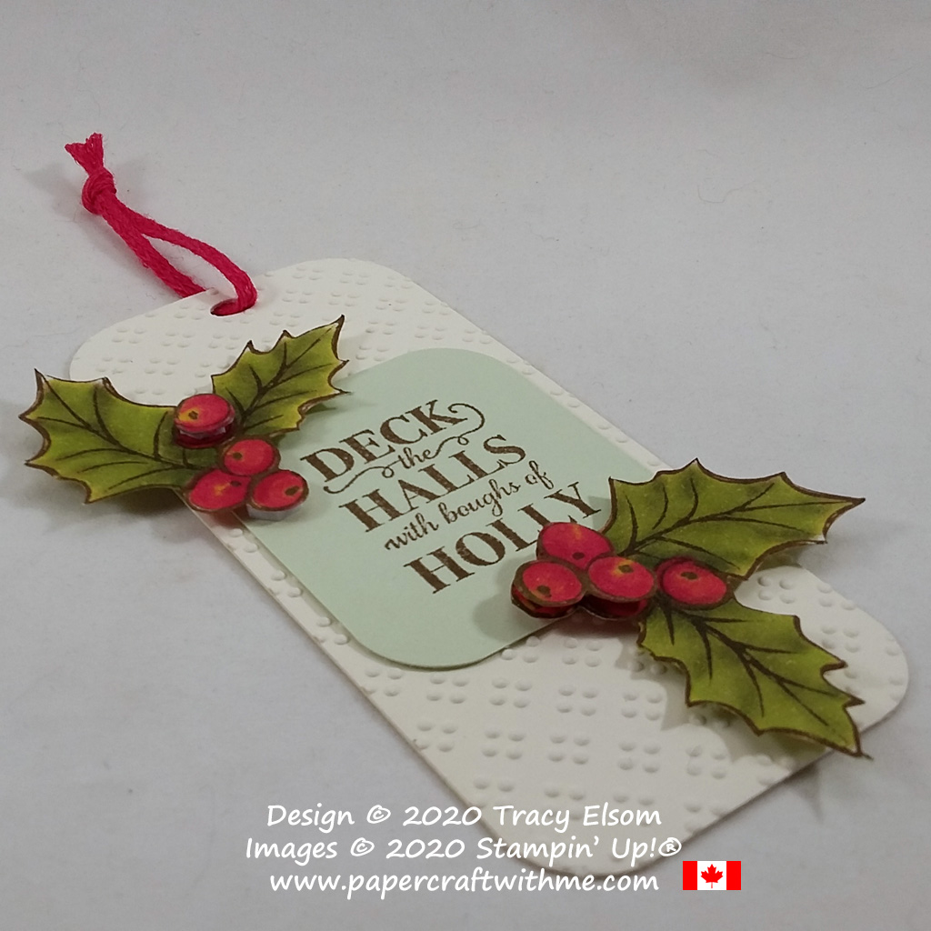 "Large gift tag with ""deck the halls"" sentiment and holly images created using the Christmas Gleaming Stamp Set from Stampin' Up! #papercraftwithme"