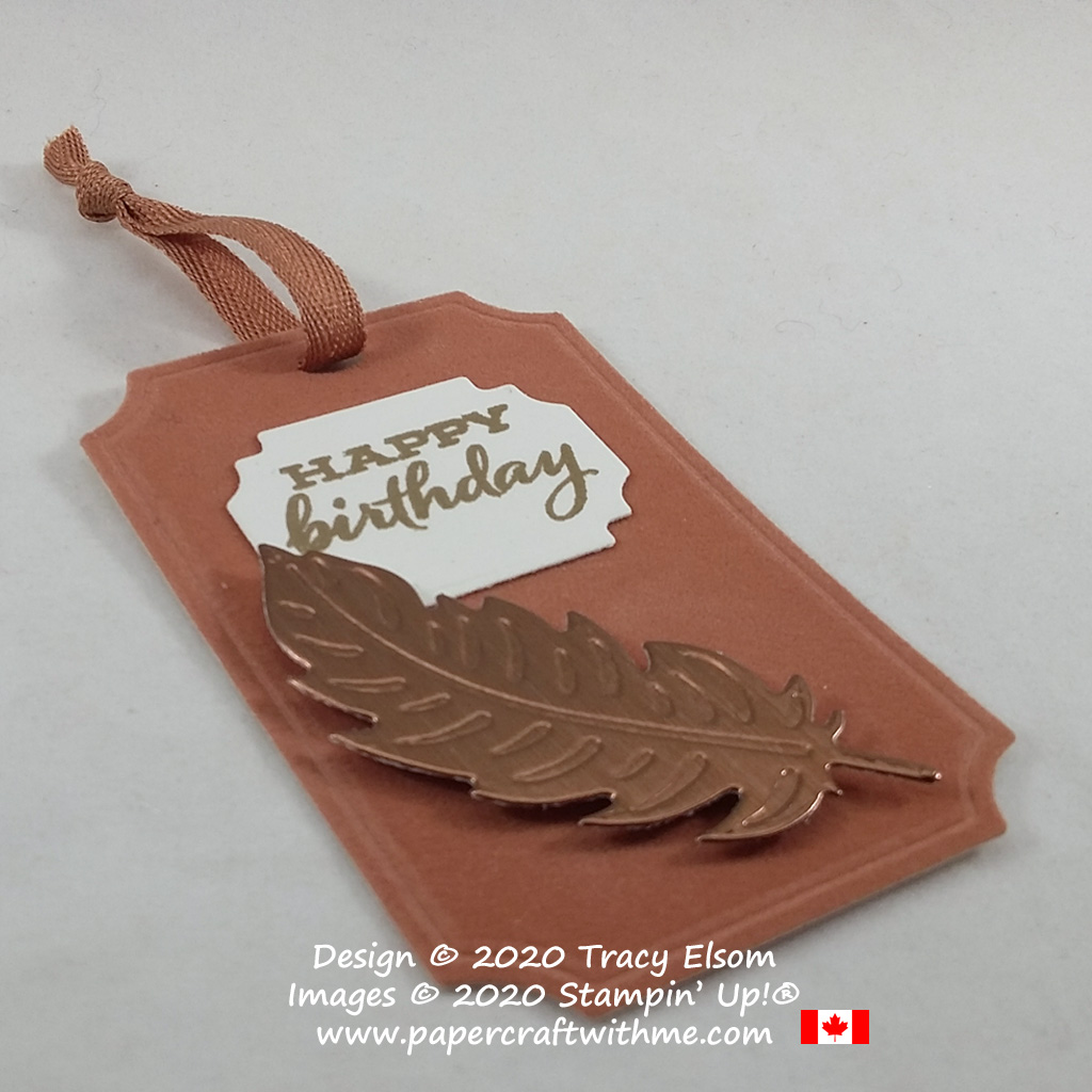 Masculine birthday tag with embossed die-cut feather on Velveteen Paper created using the Nature's Thoughts, Painted Labels and Ornate Frames Dies from Stampin' Up! #papercraftwthme