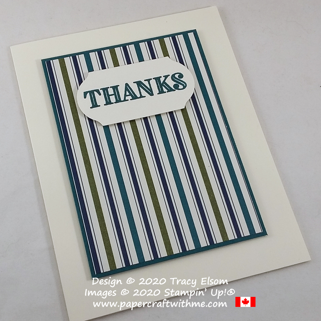 Masculine / gender neutral thank you card created using the Ornate Thanks Stamp Set and Brightly Gleaming paper from Stampin' Up! #papercraftwithme #simplestamping