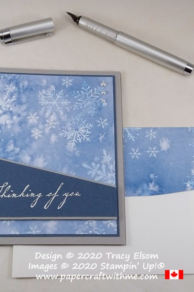 Thinking of you card with calming snowflake background created using the Woven Heirlooms Stamp Set from Stampin' Up! #papercraftwithme