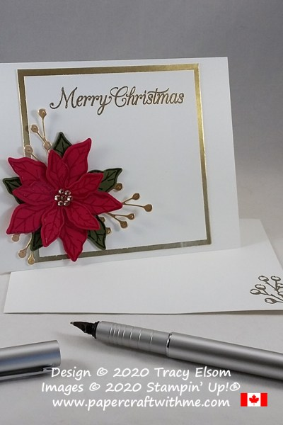 I decided to heat emboss the details on this Christmas card created using the Poinsettia Petals Stamp Set and coordinating Poinsettia Dies from Stampin' Up! #papercraftwithme