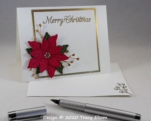 2098 Luxury Poinsettia Christmas Card