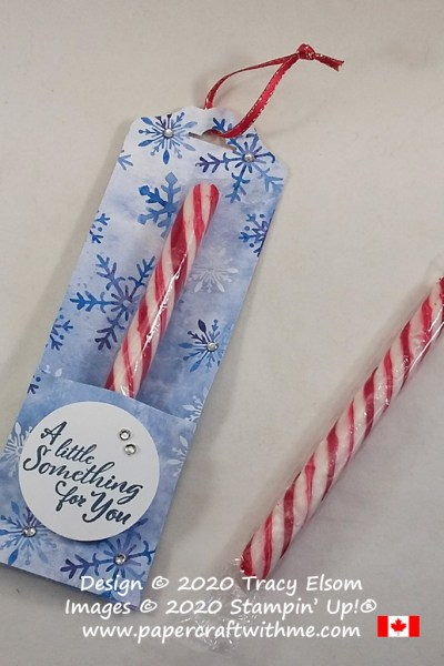 Make a quick candy cane holder for the Christmas tree using the Snowflake Splendor paper and Wrapped in Christmas Stamp Set from Stampin' Up! #papercraftwithme