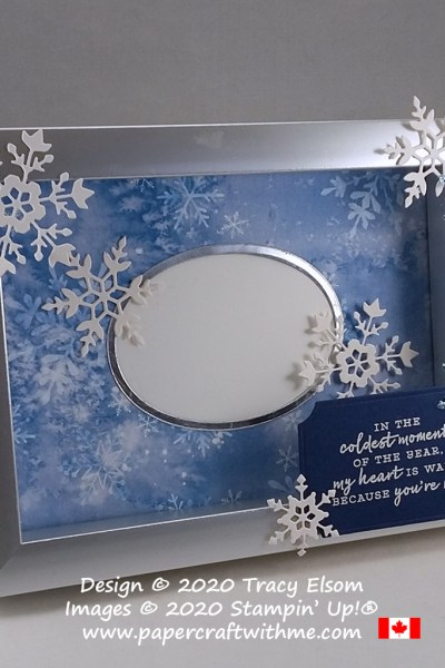 Keep loved ones near in this winter picture frame created using the Snowflake Wishes Stamp Set and So Many Snowflakes Dies from Stampin' Up! #papercraftwithme