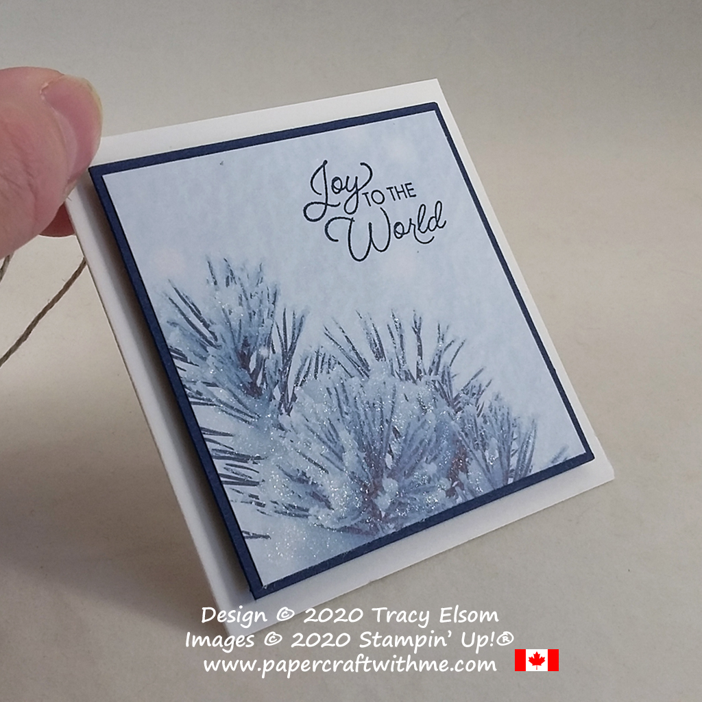 """Sending """"Joy to the world"""" with this gift tag created using the Itty Bitty Christmas Stamp Set and Feels Like Frost paper from Stampin' Up! #papercraftwithme"""