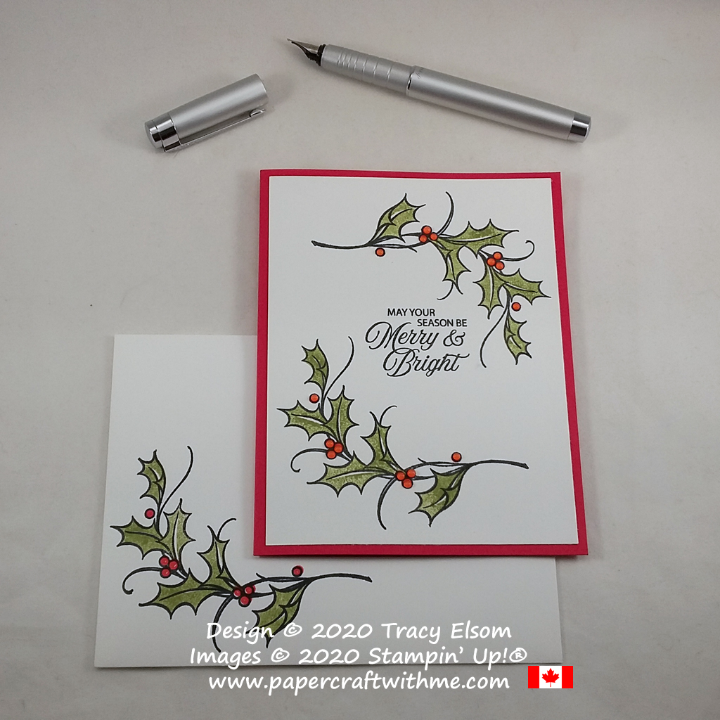 A simple Christmas card with glossy Crystal Effects berries created using the retiring Joyful Holly Stamp Set from Stampin' Up! #papercraftwithme